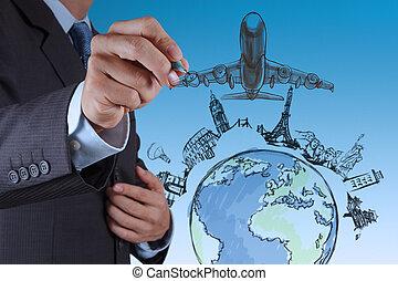 hand draws airplane travel around the world
