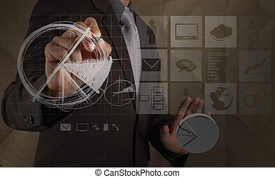 businessman hand draws business strategy with crumpled recycle paper background as concept