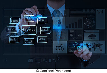 businessman hand draws business success chart concept -...
