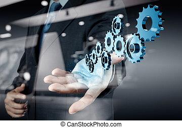 businessman hand draws gear to success concept - Double ...