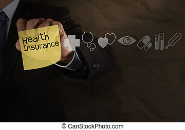 businessman hand draws health insurance with sticky note and medical icons as concept