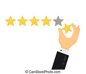 Businessman hand giving five star rating. Vector modern flat...