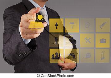 Businessman hand hold Alternative Energy solar cell