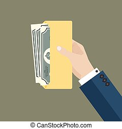 Businessman hand hold envelope with money