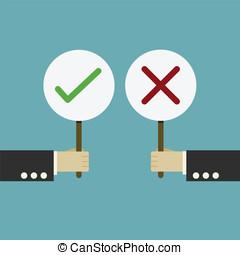 Businessman hand hold of signboard true or false