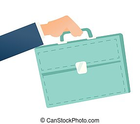 Businessman hand holding a briefcase.