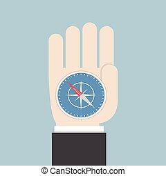 Businessman hand holding a compass