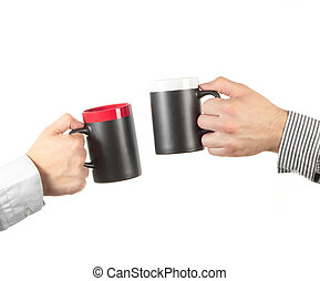 Businessman hand holding a cup of tea