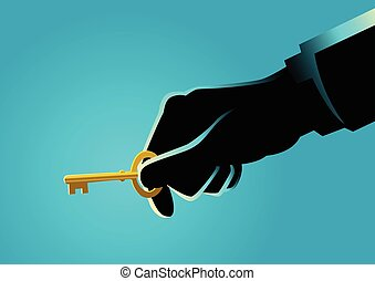 Businessman hand holding a golden key