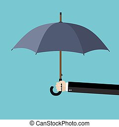 Businessman hand holding an umbrella. The concept of protection, insurance. vector illustration in flat design