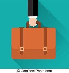 Businessman hand holding briefcase.