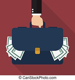 Businessman hand holding briefcase full of money. vector illustration