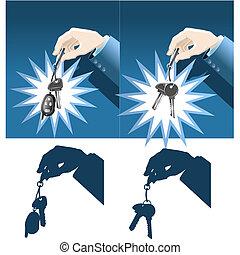 Businessman hand holding car and house keys