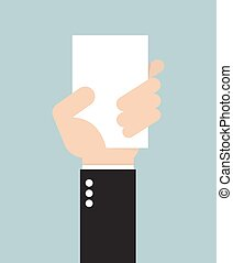 Businessman hand holding card, vector
