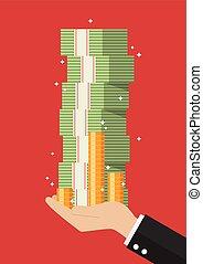 Businessman hand holding cash money
