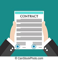 Businessman hand holding contract