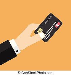 Businessman hand holding credit card.