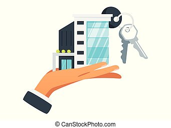 Businessman hand holding house