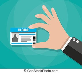 Businessman Hand holding Id card - Cartoon businessman Hand...