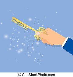 Businessman hand holding key of success