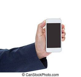 Businessman hand holding mobile phone isolated on white background with clipping path