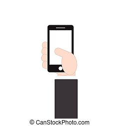 businessman hand holding mobile phone on white background, vector illustration in flat design style