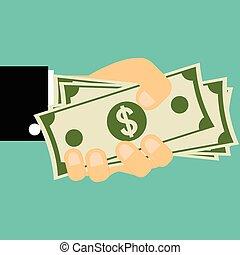 Businessman hand holding money bills on flat style, Business concept.