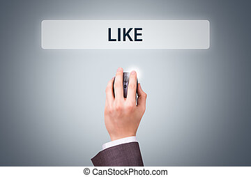 Businessman Hand Holding Mouse with Like Button
