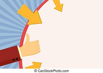 Businessman Hand Holding on Huge Blank Round Shape with Arrows Pointing In. Man Gesturing Thumbs Up and Gripping on Circle with Pointer Icon Around. Space for Announcement and Ads.