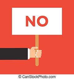 Businessman hand holding paper blank sign