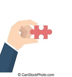 Businessman Hand holding puzzle. Problem and solution concept. Vector illustration in flat style