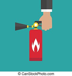 businessman hand holding red fire extinguisher isolated on ...