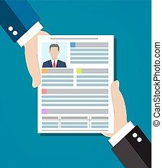 Businessman hand holding resume for interview. CV application paper sheet. Human resources management concept. vector illustration in flat design