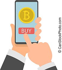 Businessman hand holding smartphone with Bitcoins on screen, Online bitcoin payment concept, Flat design vector