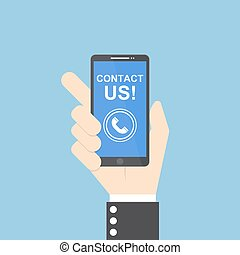 Businessman hand holding smartphone with contact us text