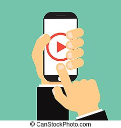 Businessman hand holding smartphone with video player on the screen. Movie app concept.