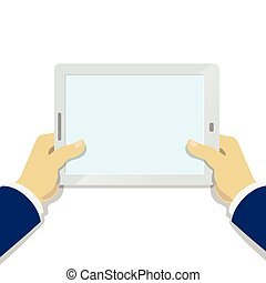 Businessman Hand holding tablet pc with blank screen  flat style