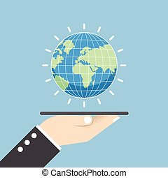 Businessman hand holding tablet with globe
