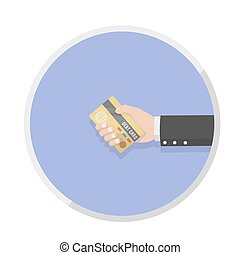 businessman hand holding the card d