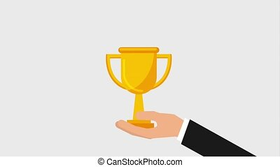 team work animation hd - businessman hand holding trophy...