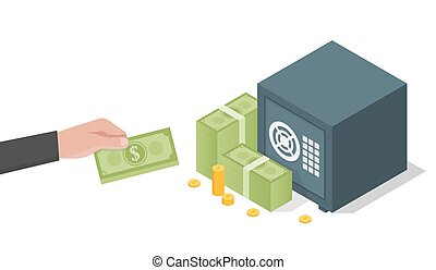 Businessman hand holds a stack of green dollars money in safe. Vector illustration