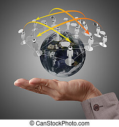 hand holds globe and social network - Businessman hand holds...