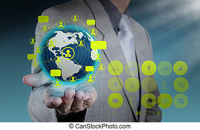 businessman hand holds social network