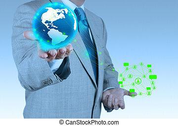 businessman hand holds social network