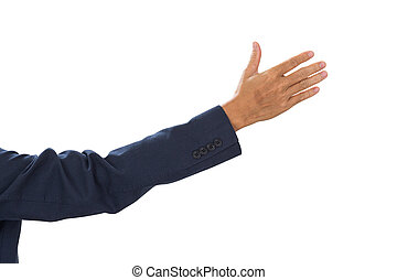 Businessman hand  isolated on white background. clipping path
