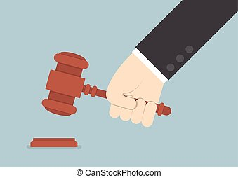 Businessman hand knocking judge's gavel