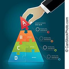 Businessman hand making a pyramid.