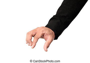 Businessman hand picking something isolated clipping path.