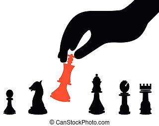 businessman hand picking strategy background