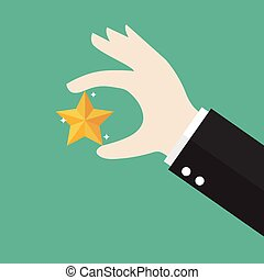 Businessman hand picking up a star. Vector illustration